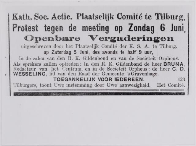 040894 - Vakbeweging. Textielstaking 1909. Advertentie in de  Nieuwe Tilburgse Courant d.d. 4-6-1909.