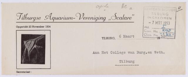 """061516 - Briefhoofd. Verenigingen. Briefhoofd van Tilburgse Aquarium-Vereniging """"Scalare"""""""