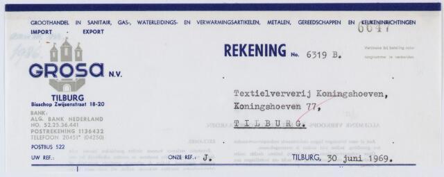 060216 - Briefhoofd.  Nota van Grosa, Bisschop Zwijsenstraat 18-20 voor Textielververij Koningshoeven, Koningshoeven 77