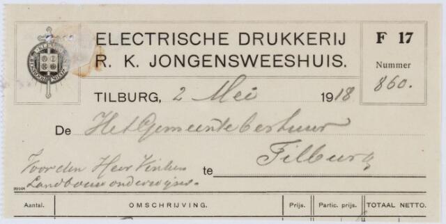 060413 - Briefhoofd. Nota van Electrische Drukkerij R.K. Jongensweeshuis, voor de gemeente Tilburg
