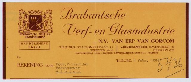 060057 - Briefhoofd. Nota van Brabantse verf- en glasindustrie Van Erp Van Gorcom B.V., Stationsstraat 35-37, voor Textielververijen Koningshoeven N.V., Koningshoevenweg 77