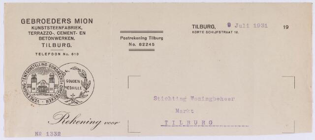 060751 - Briefhoofd. Nota van Gebroeders Mion, kunststeenfabriek, Korte Schijfstraat 12 voor Stichting Woningbeheer, Markt te Tilburg