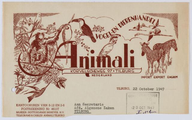 059484 - Briefhoofd. Brief van Vogel- en Dierenhandl ANIMALI, Korvelseweg 97 aan Secretarie afd. Algemene Zaken