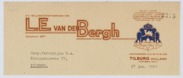 059572 - Briefhoofd. Briefhoofd van N.V. Wollenstoffenfabrieken van L.E. Van Den Bergh