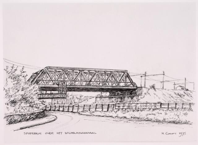 034741 - Tekening. Spoorbrug over het Wilhelminakanaal- Tekening van H. Corvers.