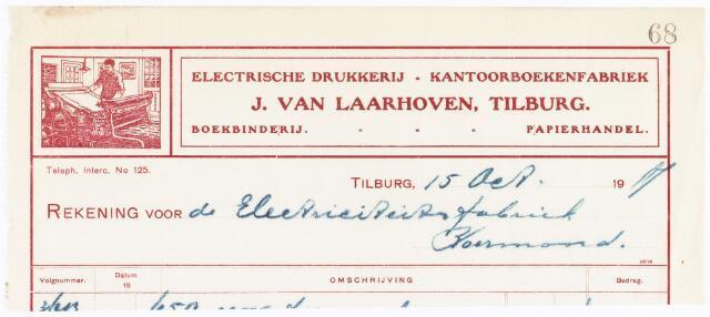 060538 - Briefhoofd. Nota van J van Laarhoven, Electrische drukkerij, kantoorboekenfabriek, boekbinderij en papierhandel, Wilhelminapark 7 voor Electriciteitsfabriek te Roermond