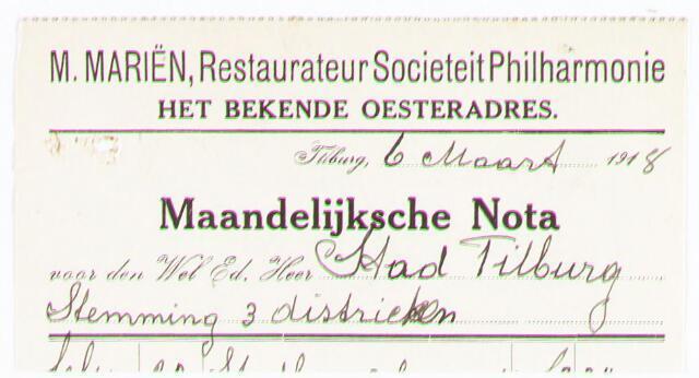 """060655 - Briefhoofd. Nota van M. Mariën, restaurateur societeit """"Philharmonie"""" voor de gemeente Tilburg"""