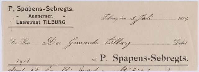 061147 - Briefhoofd. Nota van P. Spapens-Sebregts, aannemer, Laarstraat voor de gemeente Tilburg