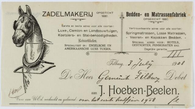 060292 - Briefhoofd. Nota van Zadelmakerij,Bedden- en Matrassenfabriek J. Hoeben-Beelen, Heuvelstraat 39 voor de gemeente Tilburg