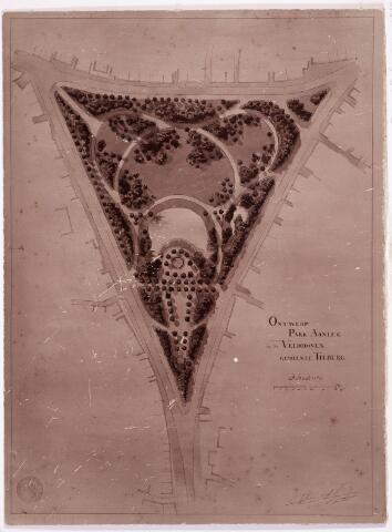 035097 - Ontwerp van tuinarchitect Leonard Springer (1855-1940) van Park Aanleg op de Veldhoven.  Hoewel Springer zijn werk als tuinarchitect verrichtte vanuit zijn woonplaats Haarlem, heeft hij ook in Noord-Brabant zijn sporen nagelaten. Tilburg spant daarbij de kroon. Maar liefst vijf stadsparken droegen of dragen zijn stempel, waarvan drie ervan nog steeds sterk beeldbepalend zijn. Dat zijn het Wilhelminapark (uit 1899), het Wandelbos (1920) en het Leijpark (1920/'39). Verder ontwierp Springer in Tilburg maar liefst acht villatuinen aan de Bredaseweg, Korvelseweg en Gasthuisstraat, evenals het landgoed met villatuin van Mutsaers van Waesberghe in Goirle.