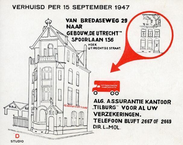 """600247 - Verhuisbericht van het Algemeen Assurantiekantoor """"Tilburg"""" van de Bredaseweg 29 naar gebouw """"De Utrecht"""" aan de Spoorlaan 156."""