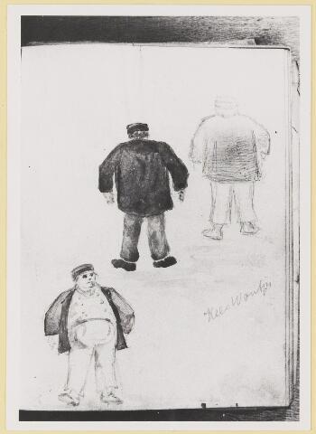 """073444 - tekening door mr. Abraham Hendrik Balbian Verster (1830-1915) Geboren te  Amsterdam overleden te Oisterwijk. Hij woonde met met zijn gezin in 'De Drye Swaantjes"""" aan de Lind. Hij was kantonrechter te Boxtel en Tilburg, bovendien was hij rentmeester over de goederen van baron van Lijnden, hij was stichter van de Israëlische begraafplaats aan de Hondsbergselaan. Een aantal schetsportretten van zijn hand zijn bewaard gebleven."""