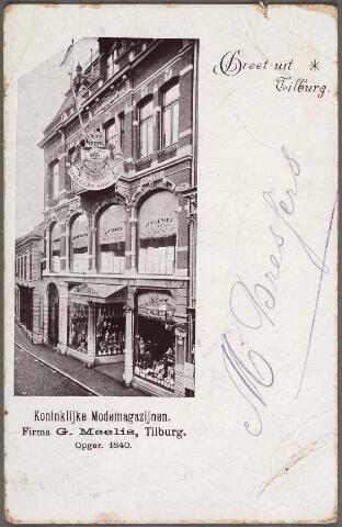 011185 - Heuvelstraat, 'Koninklijke Modemagazijnen firma G. Meelis, opgericht in 1840', later Bahlmann, nu C. & A.