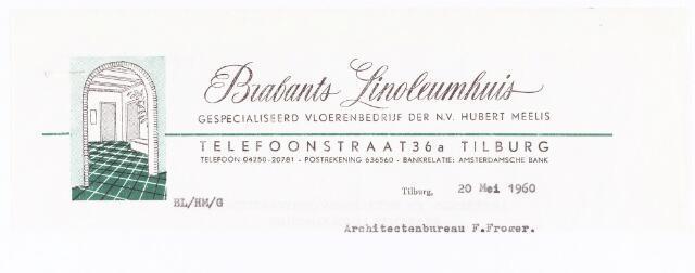060693 - Briefhoofd. Briefhoofd van Brabants Linoleumhuis, gespecialiseerd vloerenbedrijf der N.V. Hubert Meelis, Telefoonstraat 36a