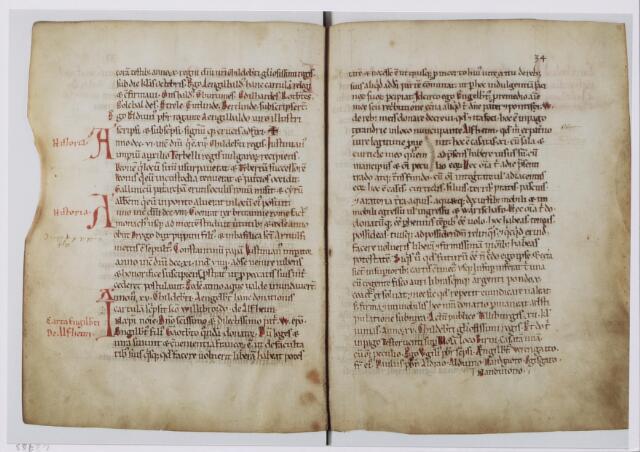 """043793 - (Kopie van de) Akte van 21 mei 709. Tilburg werd voor het eerst vermeld in een akte van 21 mei 709. De oorspronkelijke akte bestaat niet meer, maar de tekst is in 1191 gekopieerd in het """"liber aureus Epternacensis"""",  van de Abdij van Echternach. Volgens de akte schonk de Frankische grootgrondbezitter Engelbert een domein te Alphen met 11 hoeven schonk aan Sint Willibrord. De (oorspronkelijke) akte werd opgemaakt in Tilburg: """"Actum publice Tilliburgis""""."""