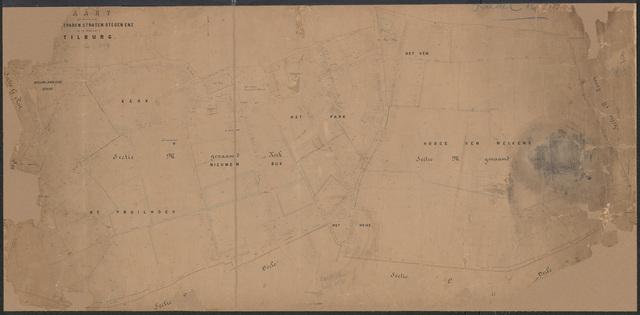652667 - Wegenlegger. Kaart van de openbare wegen, voetpaden, straten, stegen, etc. Tilburg, Sectie M (Kerk), blad 3 en 4. Schaal 1:1000. Ongedateerd.