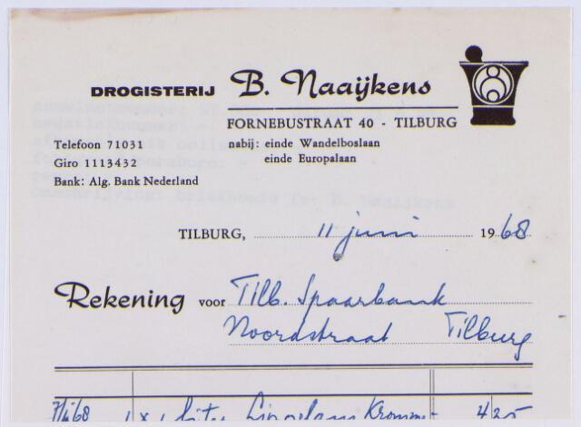 060805 - Briefhoofd. Nota van Drogisterij B. Naaijkens, Fornebustraat 40 voor Tilb. Spaarbank, Noordstraat