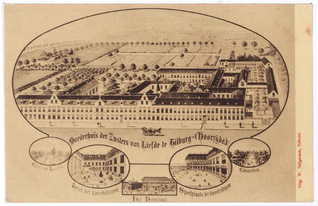 001735 - Voorzijde van het moederhuis van de Zusters van Liefde van O.L.V. Moeder van Barmhartigheid aan de Oude Dijk. De congregatie werd opgericht in 1832 door mgr. Zwijsen.
