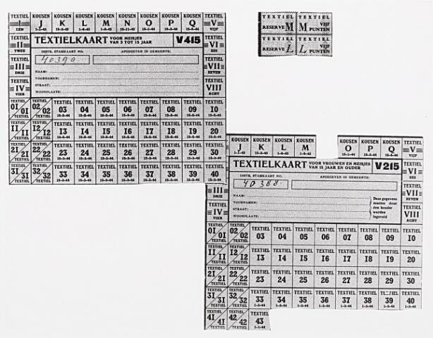 013949 - Tweede Wereldoorlog. Distributie. Bonnen waarmee textielartikelen konden worden aangeschaft