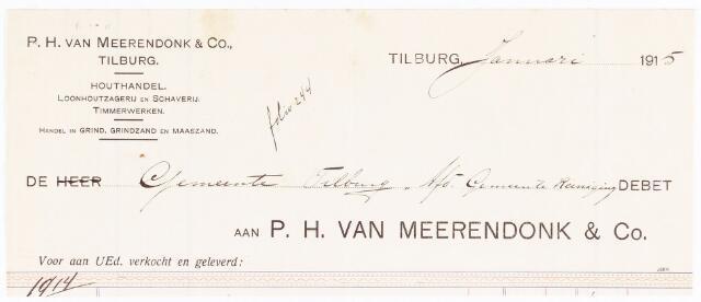 060695 - Briefhoofd. Nota van P.H. van Meerendonk & Co, houthandel, voor de gemeente Tilburg
