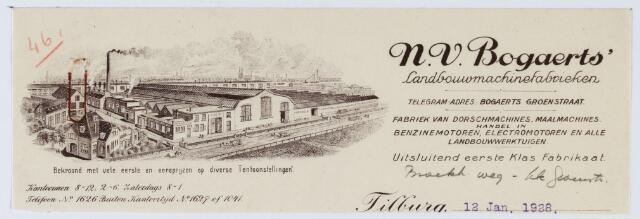 059665 - Briefhoofd. Briefhoofd van N.V. Bogaerts, Landbouwmachinesfabrieken, Broekhovenseweg/hoek Groenstraat