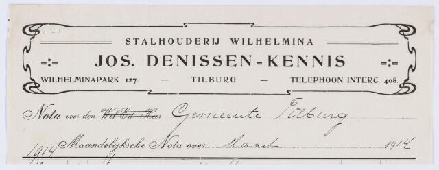 059891 - Briefhoofd. Nota van Jos Denissen-Kennis, Stalhouderij Wilhelmina, Wilhelminapark 127, voor de gemeente Tilburg