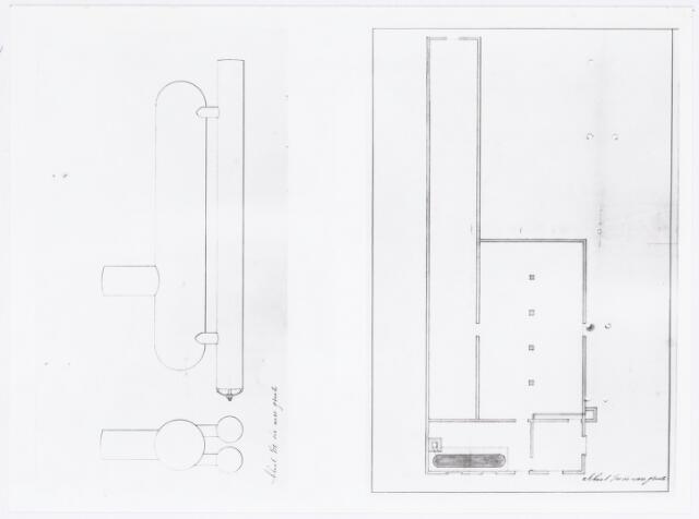 037933 - Textiel. Tekening van een stoommachine en gebouw door fabrikant Christiaans bijgevoegd bij zijn verzoek aan het gemeentebestuur van Tilburg van eind december 1875 om in de wijk Goirke een wollenstoffenfabriek met stoommachine te mogen bouwen