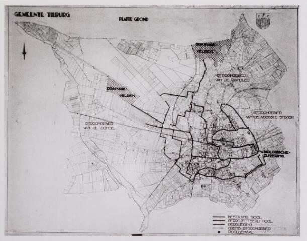 042259 - Riolering.  Plattegrond van Tilburg met daarop de bestaande en  nog aan te leggen riolering