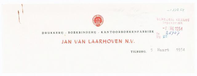 060547 - Briefhoofd. Briefhoofd van Jan van Laarhoven N.V. , Electrische drukkerij, kantoorboekenfabriek, boekbinderij en papierhandel, Wilhelminapark 7