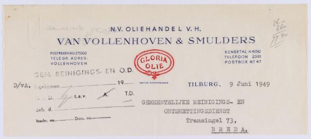 061364 - Briefhoofd. Nota van N.V. Oliehandel v/h Van Vollenhoven & Smulders voor gemeentelijke reinigingsdienst te Breda