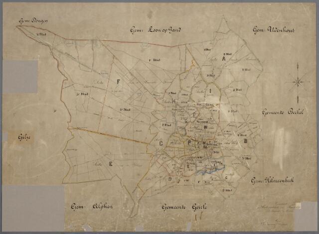 059451 - Kaart. Overzichstkaart van Tilburg, kadastrale secties A t/m Q.
