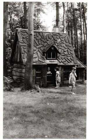 046383 - Medisch kinderdagverblijf Kleuterheil. Kleuters bij het peperkoekhuisje in het bos.