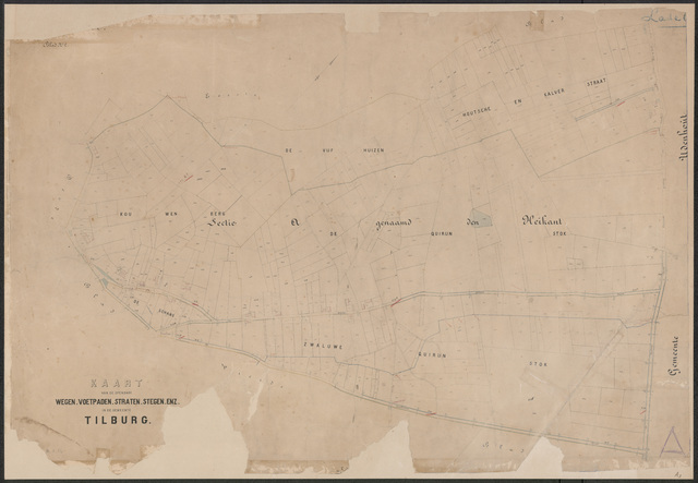 652633 - Wegenlegger. Kaart van de openbare wegen, voetpaden, straten, stegen, etc. Tilburg, Sectie A (Heikant), blad 2, ongedateerd.