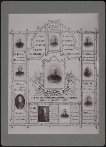 603811 - Deken Bots. Fotocollage ter gelegenheid van het 25-jarig pastoorsjubileum van Johannes Baptista Bots. Bots werd geboren op 18-09-1838 te Helmond en tot priester gewijd in 1862. Datzelfde jaar werd hij als kapelaan benoemd in Udenhout. Drie jaar later, in 1865, werd kapelaan Bots overgeplaatst naar Den Bosch. Op 21 maart 1882 werd hij pastoor van de parochie Goirke te Tilburg. Hier zou hij meer dan 25 jaar als pastoor de parochie beheren. In 1908 werd Johannes B. Bots benoemd tot deken van het dekenaat Tilburg.  Op deze fotocollage zijn ook alle kapelaans afgebeeld die gedurende 25 jaar werkzaam zijn geweest in de parochie Goirke. De afgebeelde kapelaans zijn van links naar rechts (kloksgewijs) A.H. van Iersel, kapelaan van 1873-1887, J.Th. Buijs, kapelaan vanaf 1904, A.H.M. Goossens, kapelaan van 1873 tot 1902, C.A.A. van Son kapelaan van 1892 tot 1904, B. Verbakel, kapelaan van 1897 tot 1905, J.J. van Laarhoven, kapelaan vanaf 1904, G.M. Thijssen, kapelaan vanaf 1902, G. van den Boer, kapelaan van 1880 tot 1897, J. Sprangers, kapelaan van 1879 tot 1892,