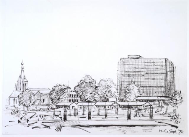 024284 - Tekening. Tekening van H. Corvers uit 1970 van bouwactiviteiten op het Koningsplein