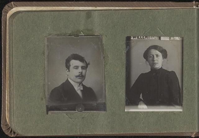 603972 - Albumblad met zogenaamde TipTop-pasfoto´s van het personeel van de gemeentesecretarie van Tilburg, omstreeks 1916.  Beide personen onbekend.