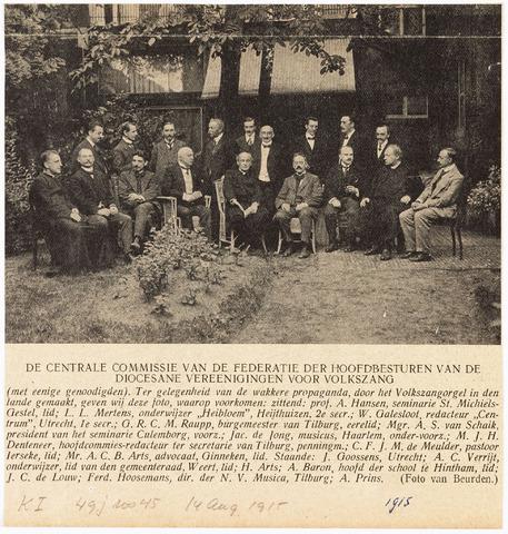 009529 - Verenigingen. De centrale commissie van de federatie der hoofdbesturen van de diocesane vereenigingen voor volkszang (reproductie; origineel niet in collectie aanwezig)