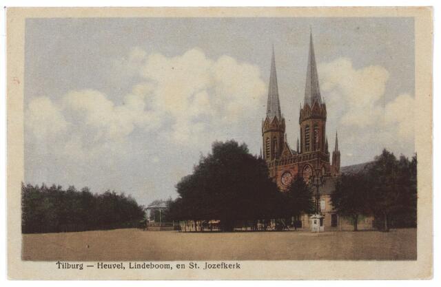 000899 - Heuvel met lindeboom, kerk van St. Jozef en lantaarn ter herinnering aan burgemeester Jansen, geplaatst in 1902.