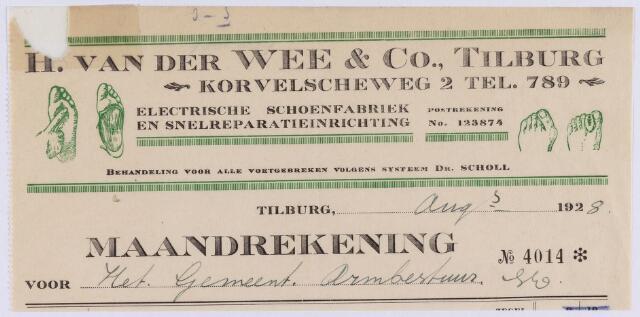 061404 - Briefhoofd. Nota van H. van der Wee & Co. Tilburg, electr. schoenfabriek en snelreparatie-inrichting, St. Annaplein 14 voor het Armbestuur van de gemeente Tilburg