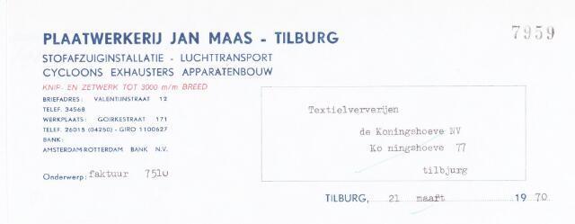 060630 - Briefhoofd. Nota van Plaatwerkerij Jan Maas - Tilburg, Valentijnstraat 12, voor Textielververijen de Koningshoeven N,V,m Koningshoeven 77