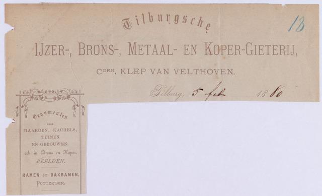 061269 - Briefhoofd. Briefhoofd van Tilburgsche Ijzer-, Brons-, Metaal- en Koper-Gieterij, Corn. Klep van Velthoven