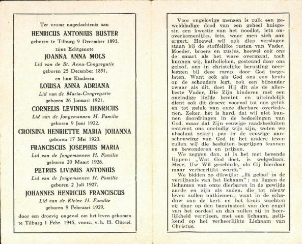 604324 - Tweede Wereldoorlog. Oorlogsslachtoffers. Bidprentje ter nagedachtenis aan het gezin Buster te Tilburg. Het volledige gezin kwam om het leven bij een explosie van een V-1 in de Min. Talmastraat in Tilburg.