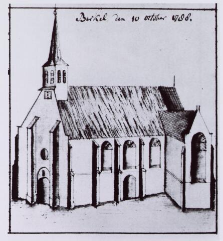 061534 - Tekening. R.K. Parochie St. Willibrordus te Berkel; schets van de kerk door Hendrik Verhees