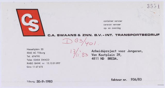 061194 - Briefhoofd. Nota van C.A. Swaans & Znn. B.V. - Int. Transportbedrijf, Hasseltplein 35 voor Arbeidsproject voor jongeren, van Kootplein 39 te Breda