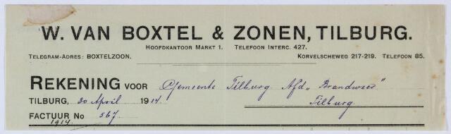 059686 - Briefhoofd. Nota van Electrotechnische Fabriek W. van Boxtel & Zonen, Markt 1, voor de gemeente afdeling brandweer Tilburg