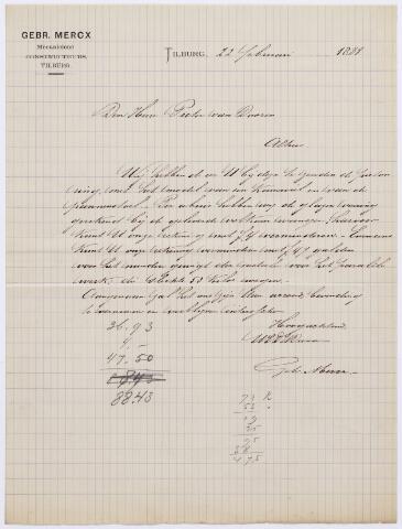 060710 - Briefhoofd. Nota van Gebroeders Mercx, constructeurs, voor de heer Pieter van Dooren te Tilburg