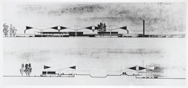 031887 - Tekening. Spoorwegen: Station aan de Spoorlaan