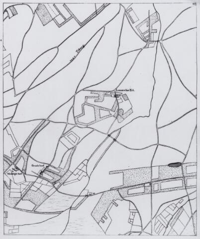 """049203 - Kaart. Het gebied van de Tongerlose hoeven onder Alphen met de """"Leeuwerken Eik"""", de """" Groote Hoef"""" en de """"Nieuwtijds Hoef"""" (Nieuwelandse Hoef)"""