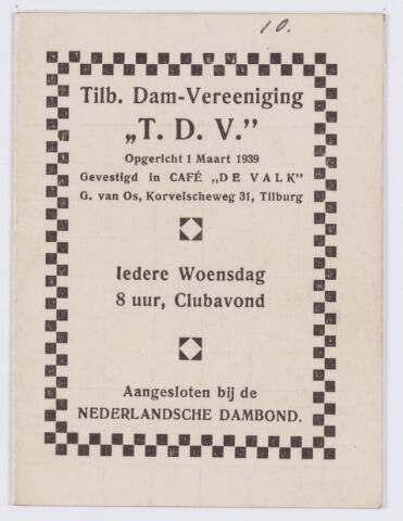 """053776 - Sport. Dammen. Lidmaatschaps kaart voor Fr. v.d. Hooff van Tilb.Dam-Vereeniging """"T.D.V. """" gevestigd te Tilburg"""