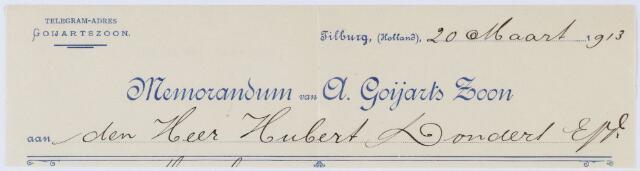 060197 - Briefhoofd. Memorandum van A. Goyarts Zoon, fabrikanten van Wollen-stoffen. Heuvelstraat 24-26